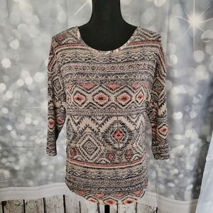 Almost Famous Kaleidoscope Print Pullover Top